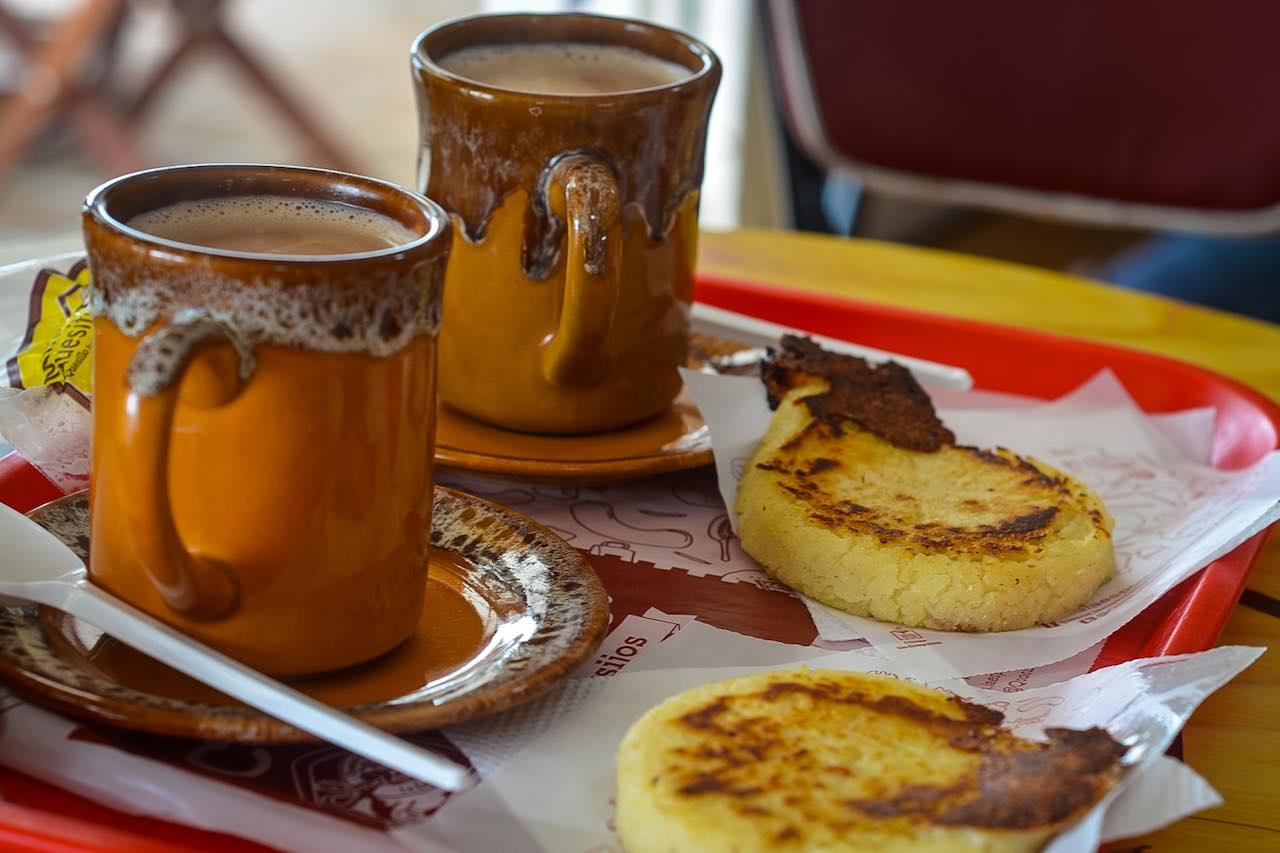 Arepa and hot chocolate