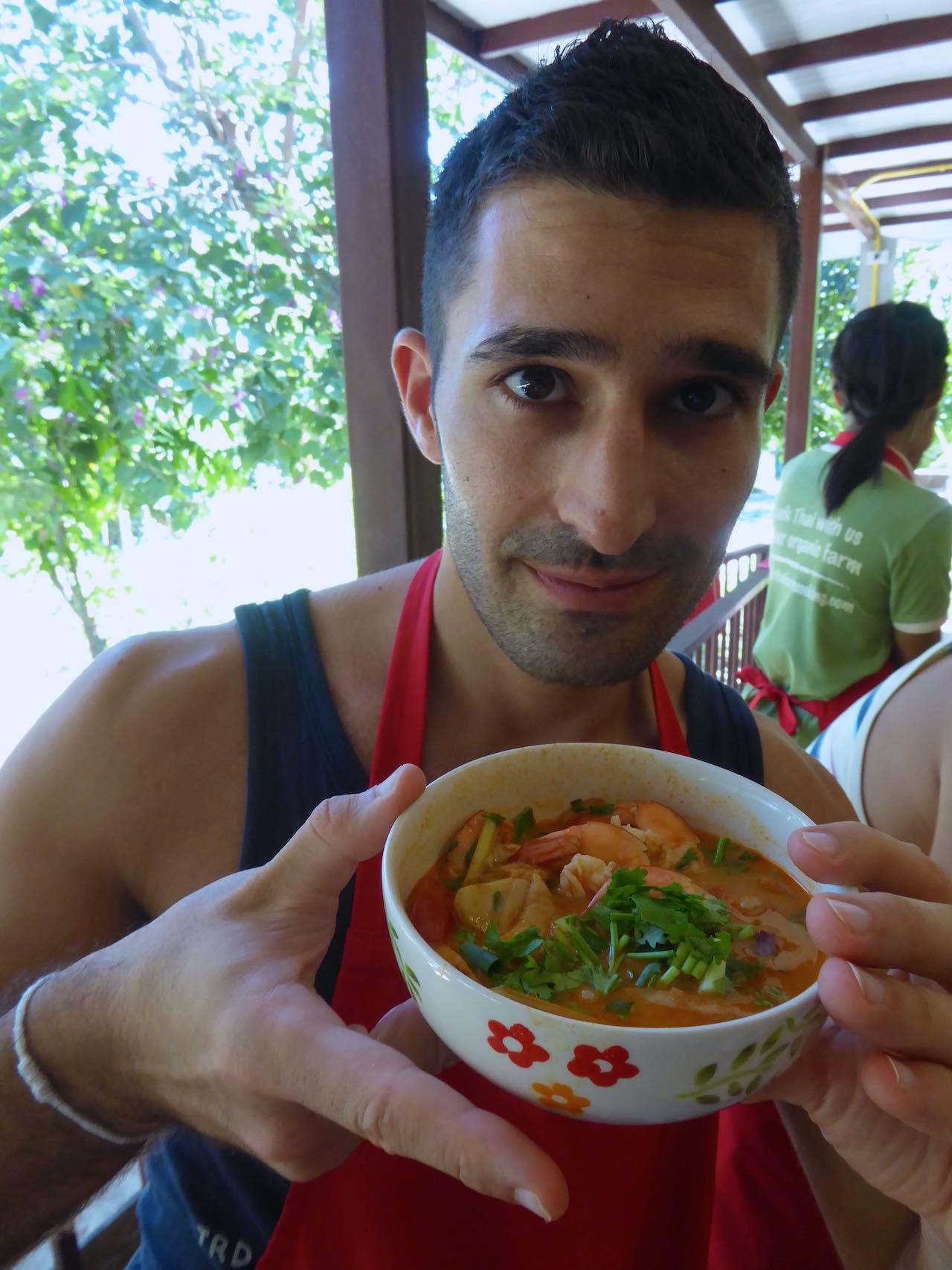 Thai Street Food Tom Yam Goong soup