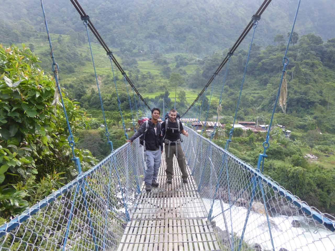 Suspension bridge near Ngadi Village Annapurna Circuit Nepal