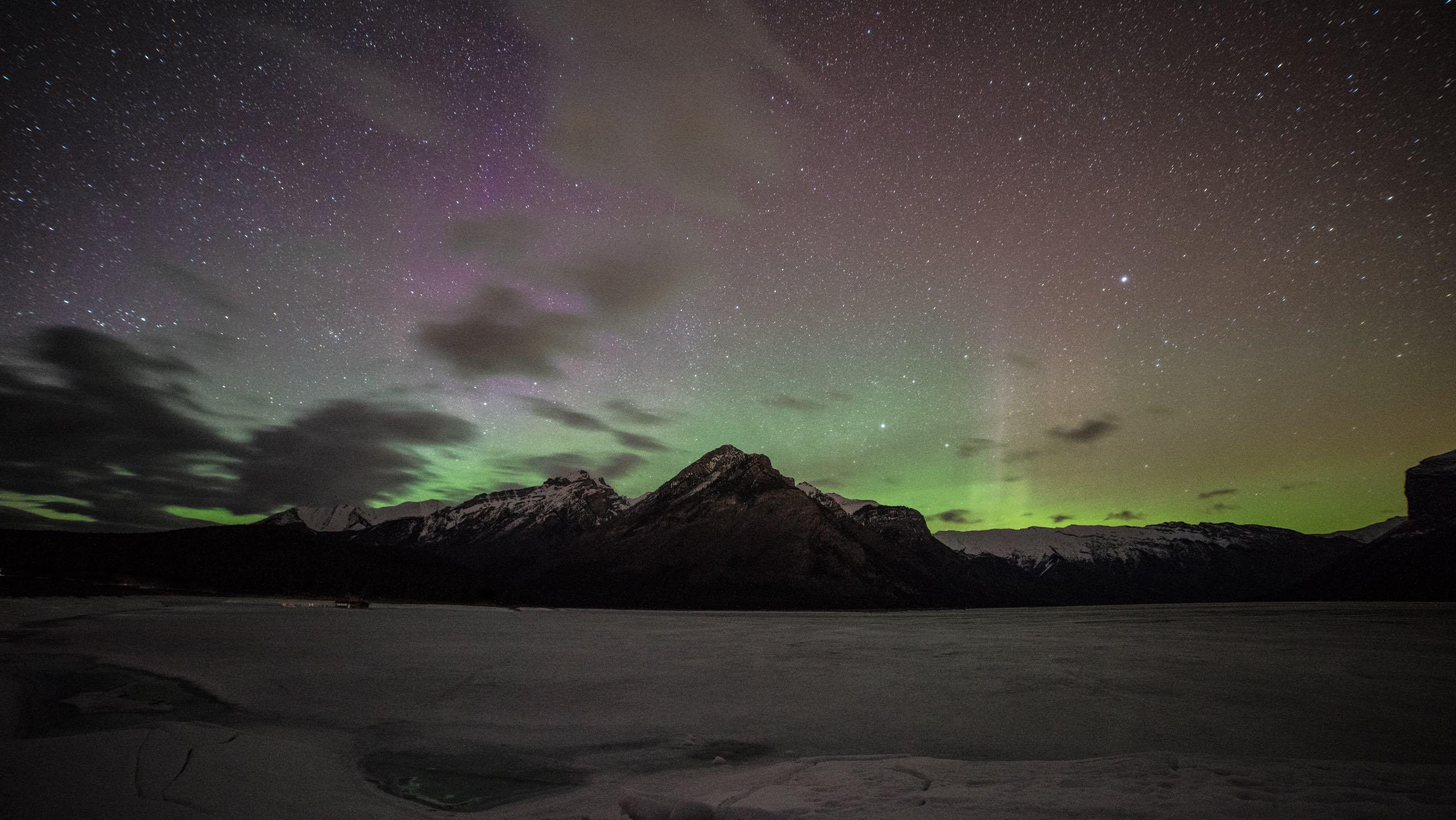 Aurora Lake Minnewanka Canada