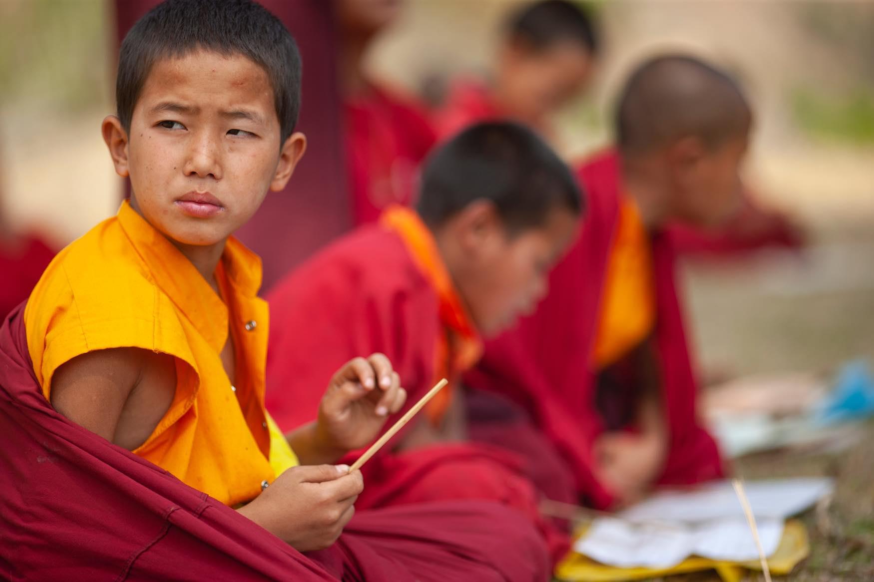 Bhuddist Monks Bhutan Lightscape