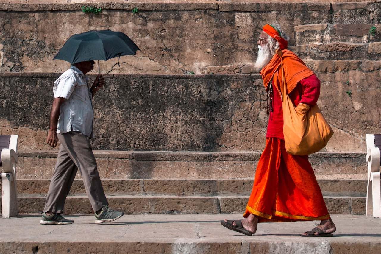 Indian men walking down the street