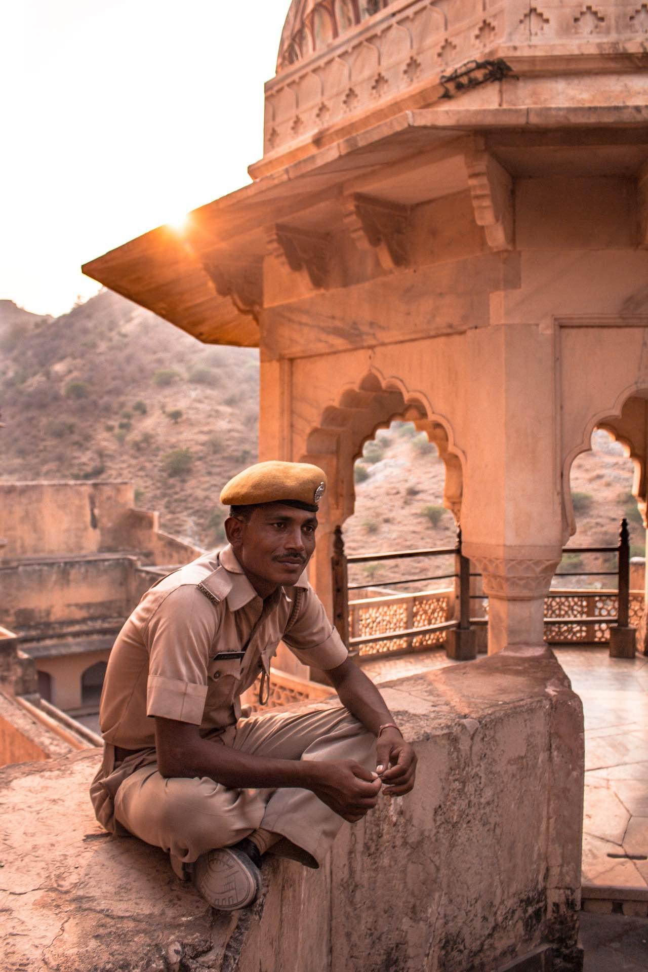 Policeman in Amber Palace, Jaipur, India