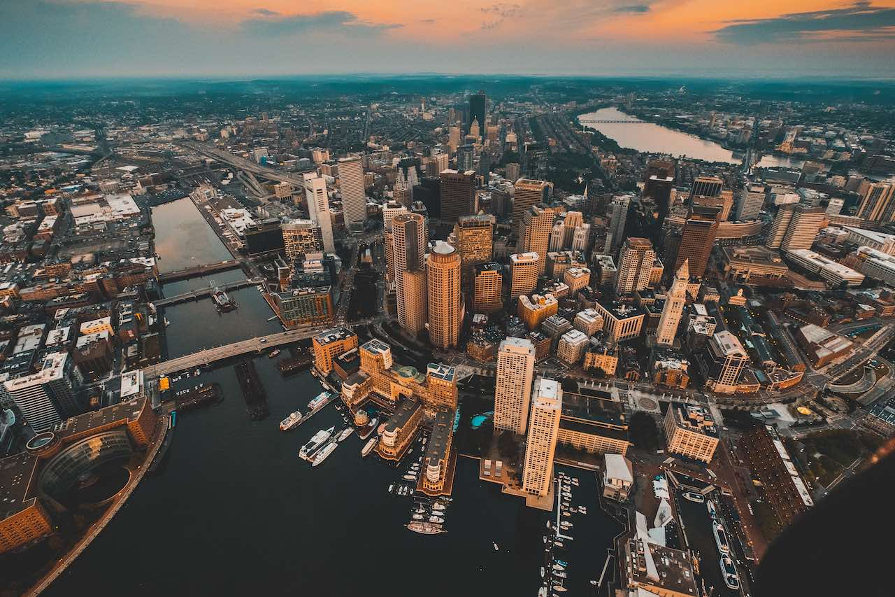 Aerial view of Boston city