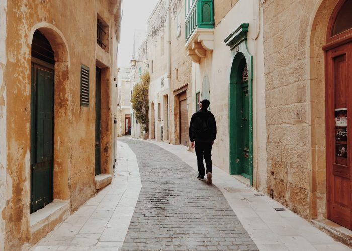 Man walking the streets of Malta